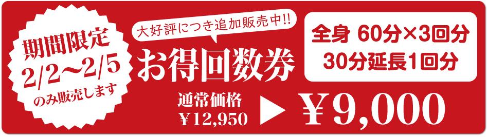 期間限定2/2~2/5のみ販売します 全身 60分×3回分 30分延長1回分 通常価格¥12,950 ¥9,000